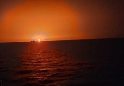 وقوع یک انفجار بزرگ در دریای خزر/فوران آتشفشان علت انفجار بود